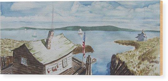 Fishing Shack With Old Glory Wood Print by Robert Thomaston