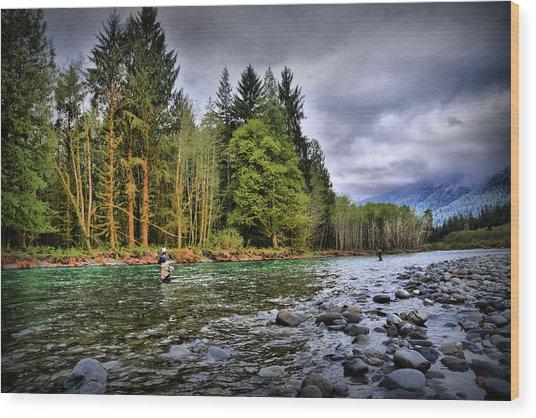 Fishing The Run Wood Print