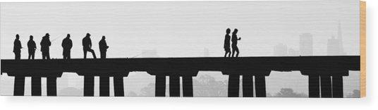 Fishing The San Francisco Skyline Wood Print