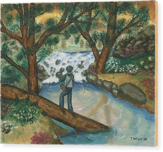Fishing The Sunny River Wood Print by Tanna Lee M Wells