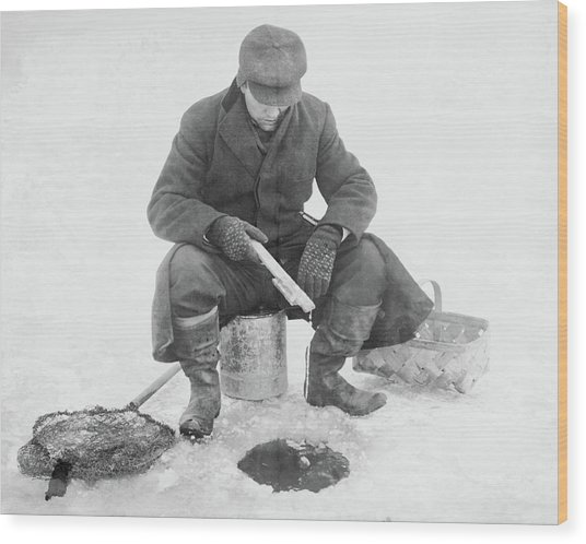 Fishing Through Ice Wood Print