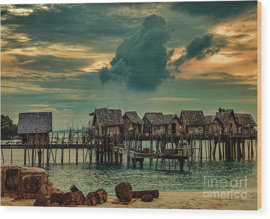 Wood Print featuring the photograph Fishing Village by Ray Shiu