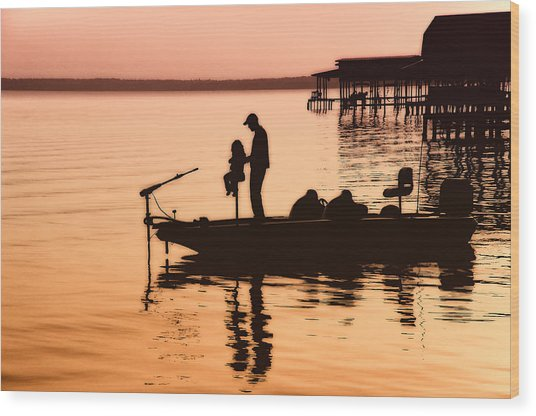 Fishing With Daddy Wood Print