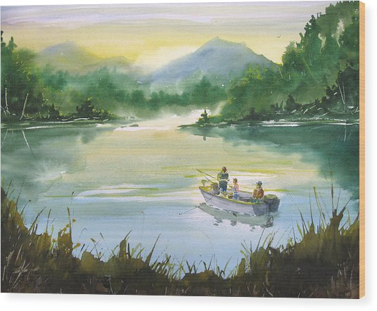 Fishing With Grandpa Wood Print