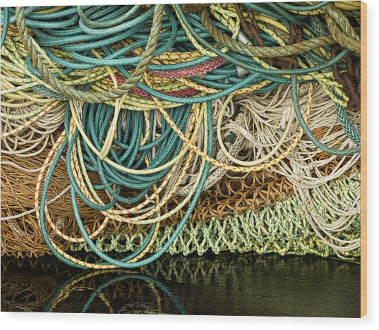 Fishnets And Ropes Wood Print
