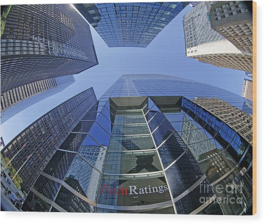 Wood Print featuring the photograph Fitch Ratings Manhattan Nyc by Juergen Held