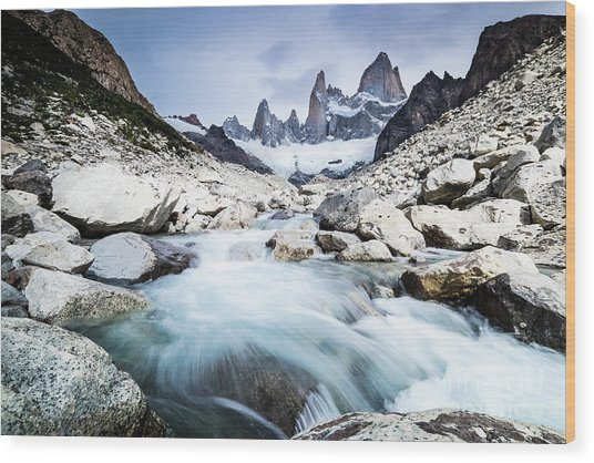 Fitz Roy On A Cloudy Day  Wood Print