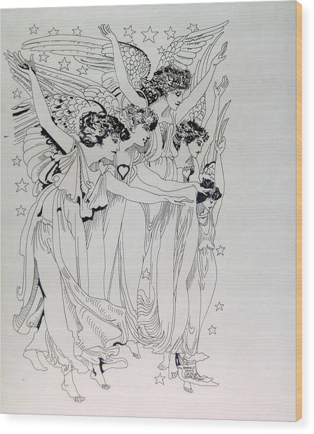 Five Angels Wood Print by Gabe Art Inc