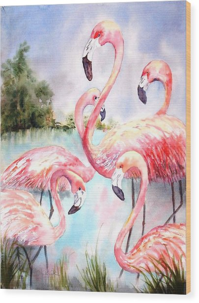 Five Flamingos Wood Print