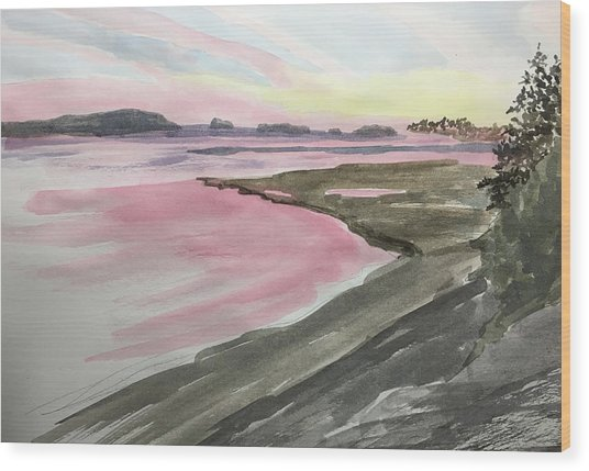 Five Islands - Watercolor Sketch  Wood Print