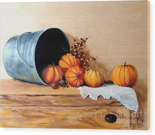 Five Little Pumpkins Wood Print