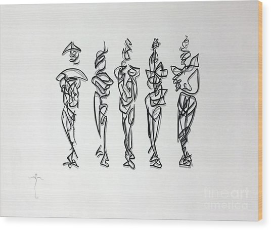 Wood Print featuring the drawing Five Muses by James Lanigan Thompson MFA
