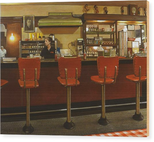 Five Past Six At The Mecca Cafe Wood Print by Doug Strickland