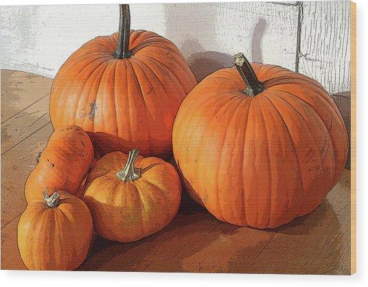 Five Pumpkins Wood Print