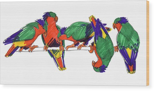 Five Rimatara Lorikeets Wood Print