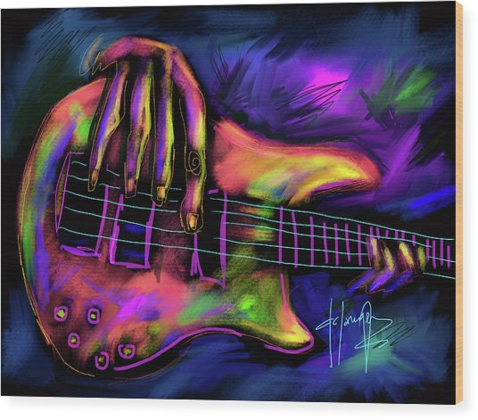 Five String Bass Wood Print