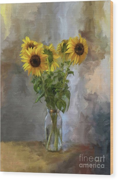 Wood Print featuring the digital art Five Sunflowers Centered by Lois Bryan