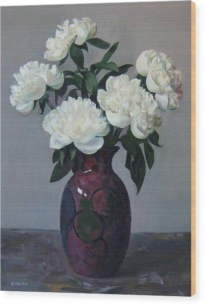 Five White Peonies In Purple Vase Wood Print