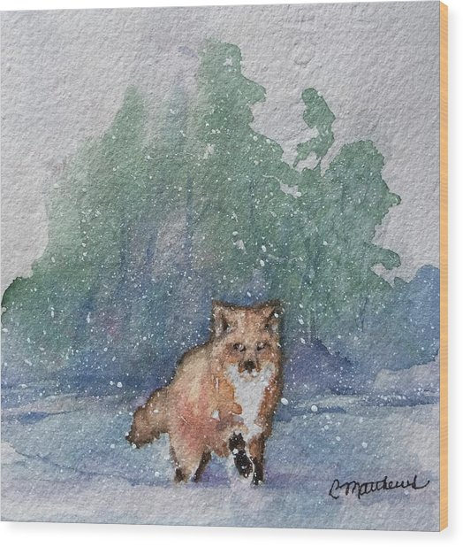 Fox In Snow Wood Print