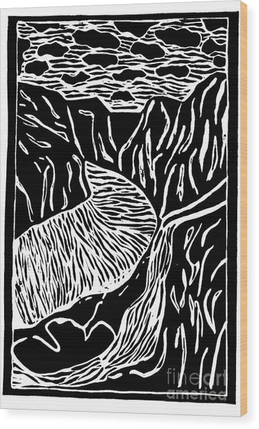 Fjord Norway - Limited Edition Linocut Print Wood Print by Sascha Meyer