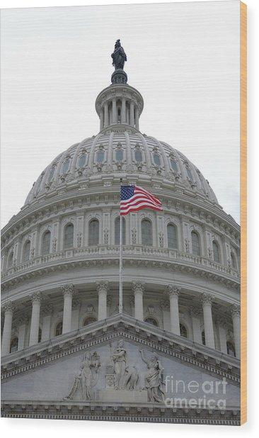 Flag And Dome Wood Print
