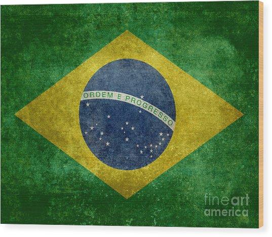 Flag Of Brazil Vintage 18x24 Crop Version Wood Print