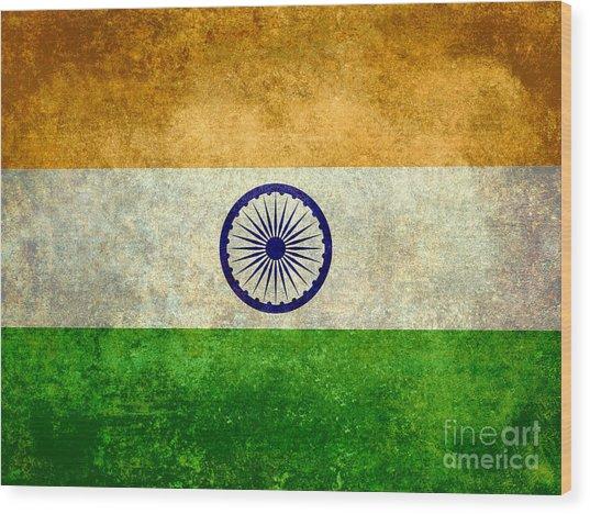 Flag Of India Vintage 18x24 Crop Version Wood Print