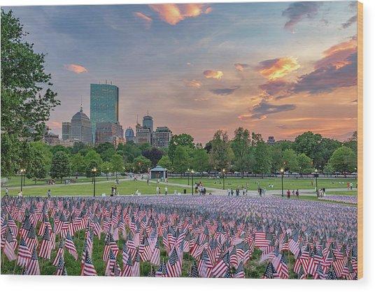 Flag Sunset On Boston Common Wood Print
