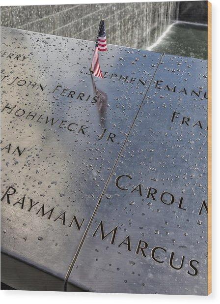 Flag World Trade Center Memorial July 4 2015 Wood Print by Robert Ullmann