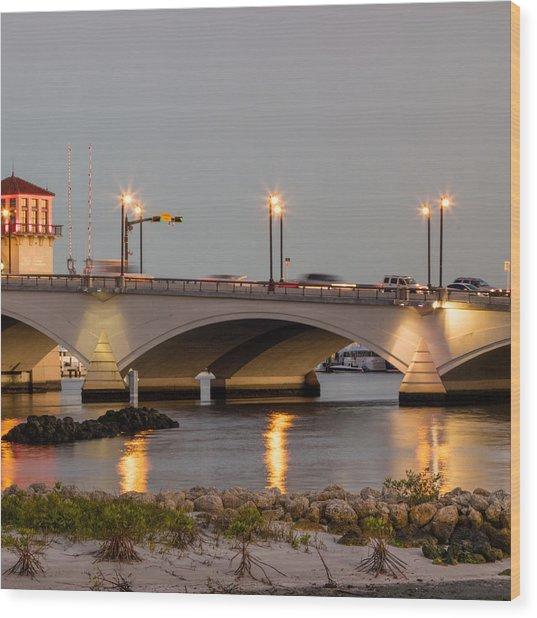 Flagler Bridge In Lights Iv Wood Print