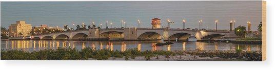 Flagler Bridge In Lights Panorama Wood Print