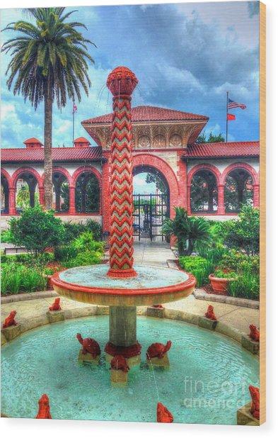 Flagler College Fountain Wood Print
