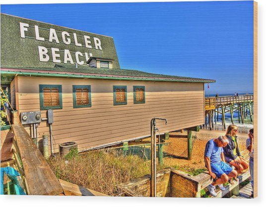 Flagler Pier Postcard Wood Print