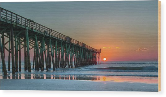 Flagler Pier Sunrise Wood Print