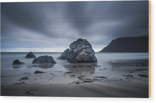 Flakstad Beach Wood Print