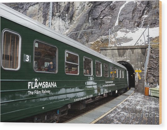 Flam Railway Wood Print