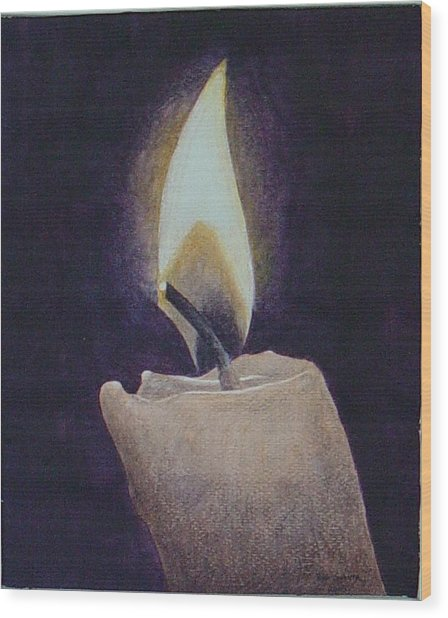 Flame Wood Print by Ron Sylvia