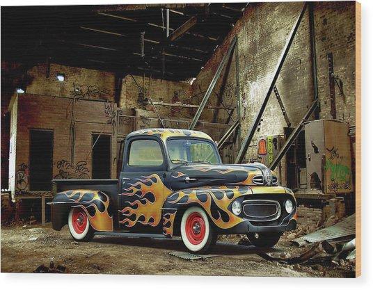 Flamed Pickup Wood Print