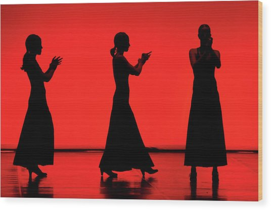 Flamenco Red An Black Spanish Passion For Dance And Rithm Wood Print