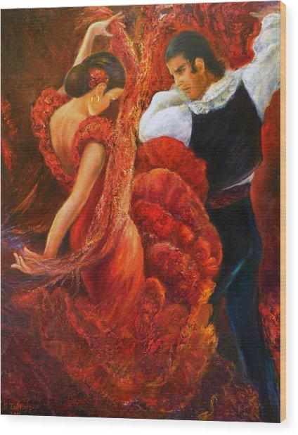 Flamenco Couple 2 Wood Print