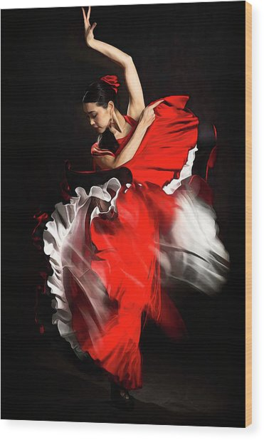 Flamenco Dancer - 01 Wood Print