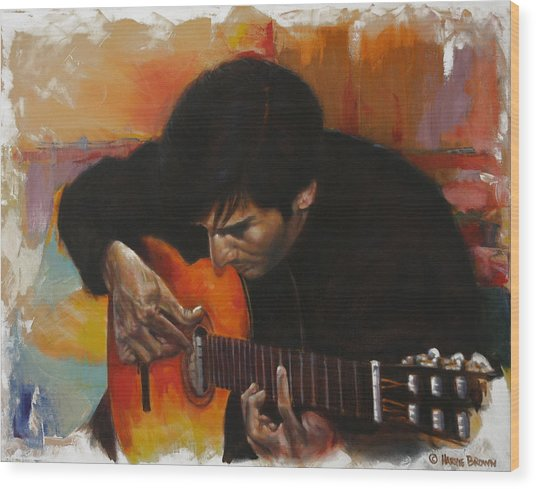 Flamenco Guitar Player Wood Print