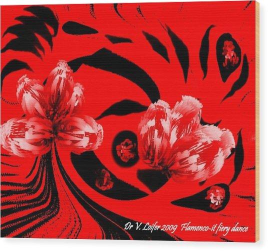 Flamenco-it Fiery Dance Wood Print by Dr Loifer Vladimir