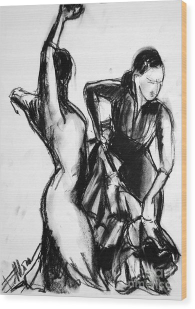 Flamenco Sketch 1 Wood Print
