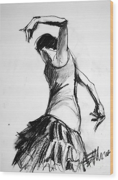 Flamenco Sketch 2 Wood Print
