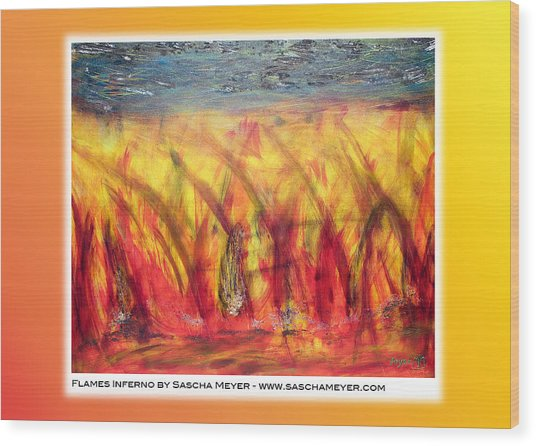 Flames Inferno On A Nice Background - Postcard Wood Print by Sascha Meyer