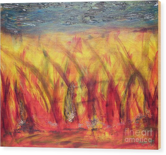 Flames Inferno Wood Print by Sascha Meyer