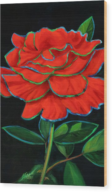 Flaminco Rose Wood Print by Billie Colson