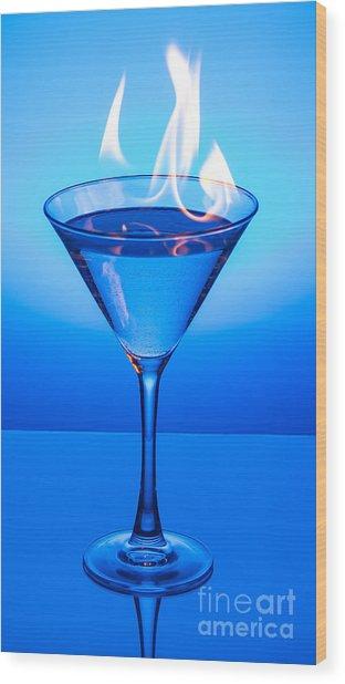 Flaming Blue Martini Wood Print