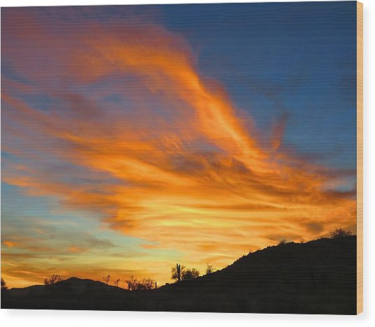 Flaming Hand Sunset Wood Print